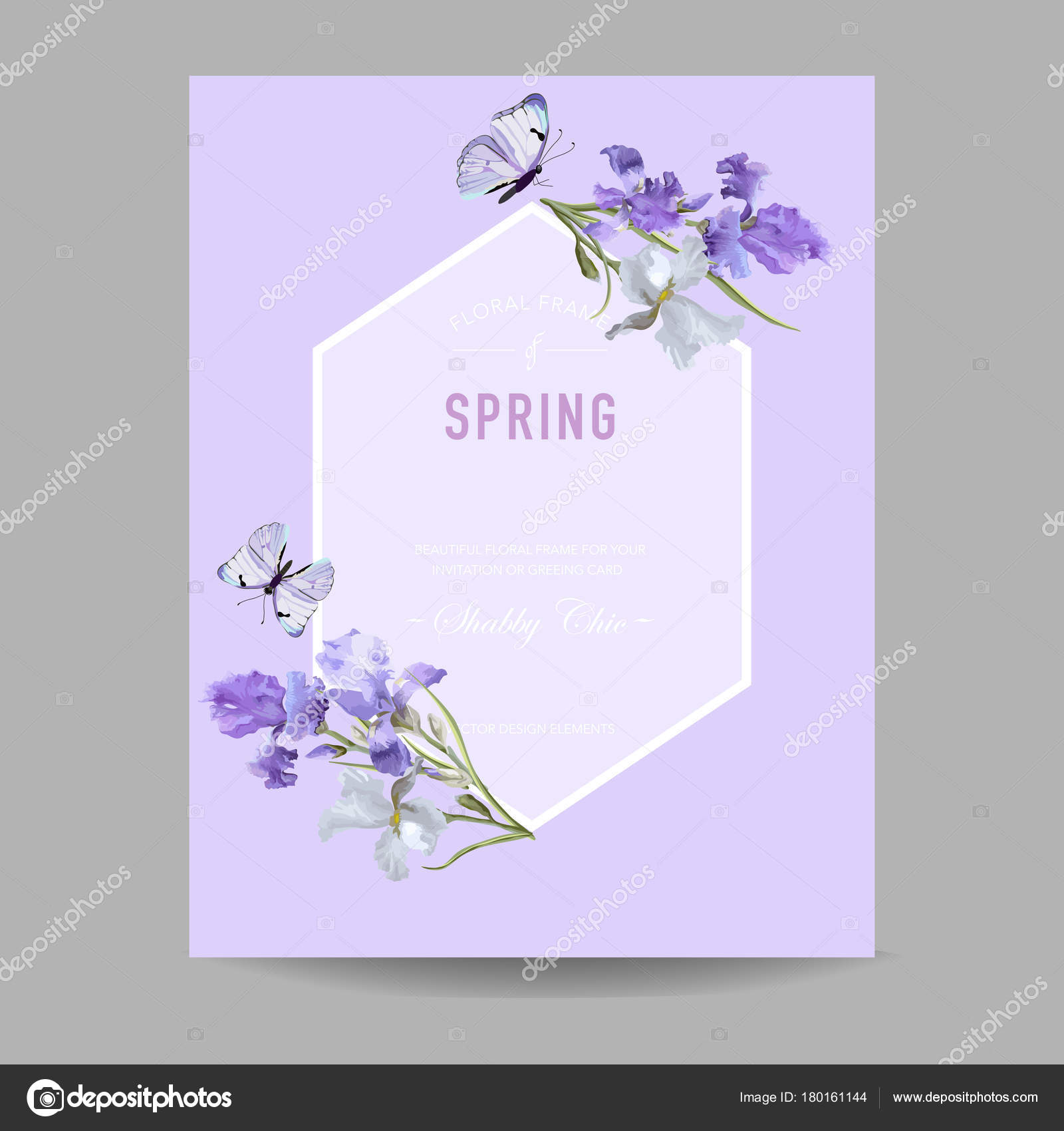 Floral Bloom Spring Frame With Purple Iris Flowers Invitation