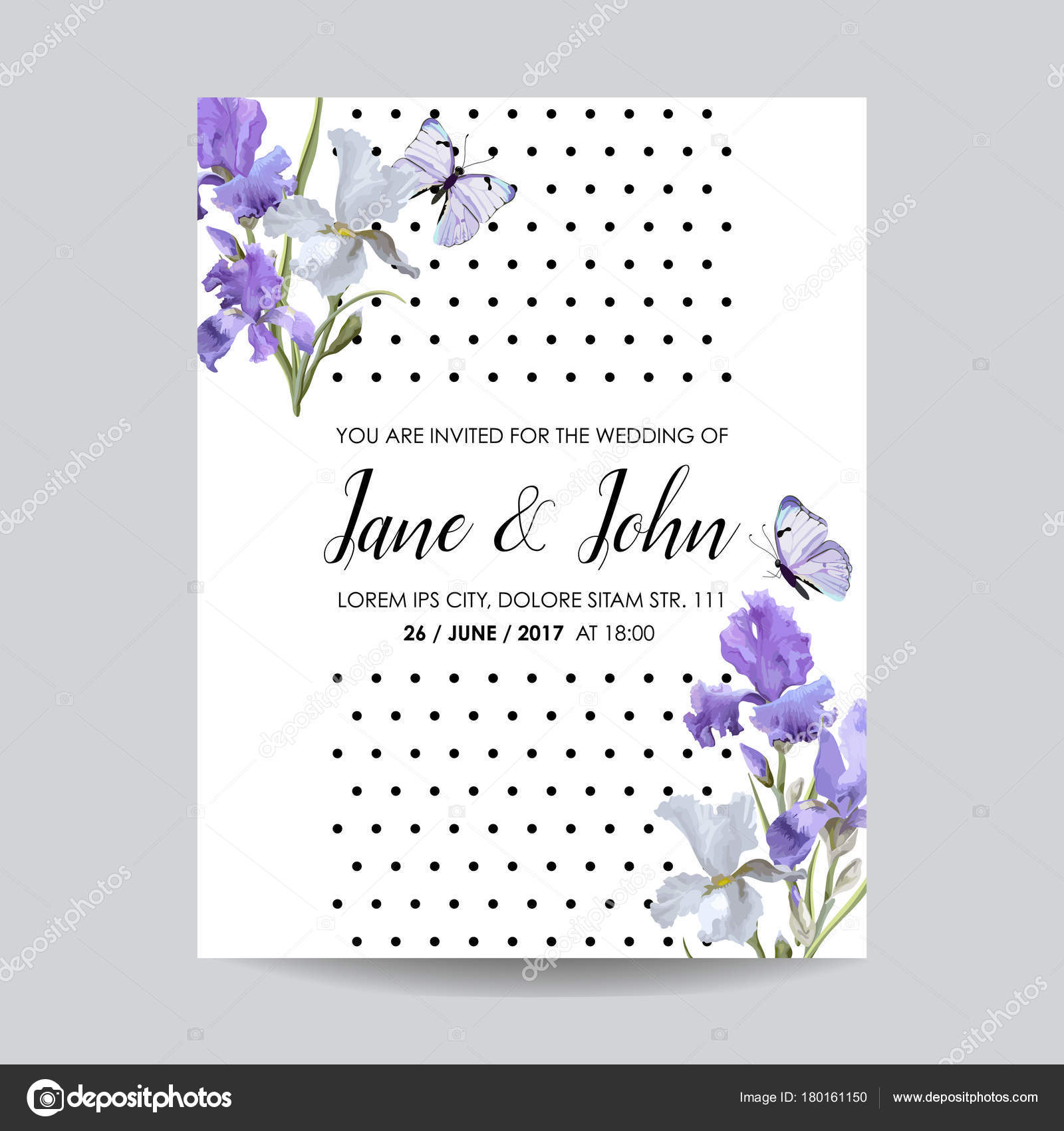 Save the date card with iris flowers and butterflies floral wedding save the date card with iris flowers and butterflies floral wedding invitation template botanical izmirmasajfo