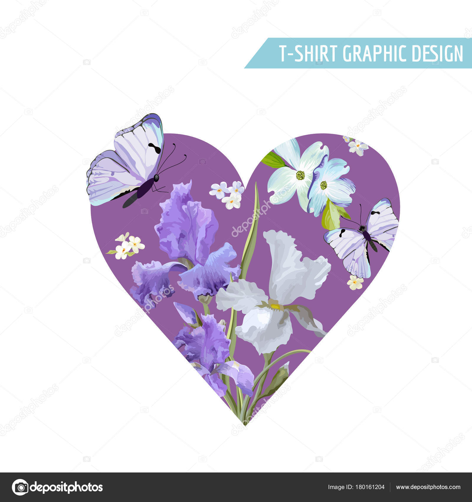 Romantic Love T Shirt Design With Blooming Iris Flowers And