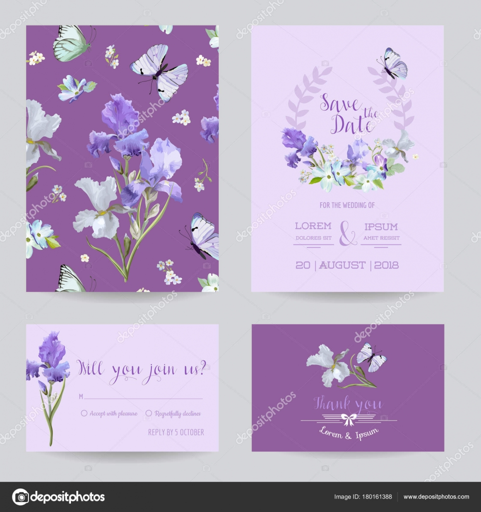 Save the Date Card with Iris Flowers and Flying Butterflies ...