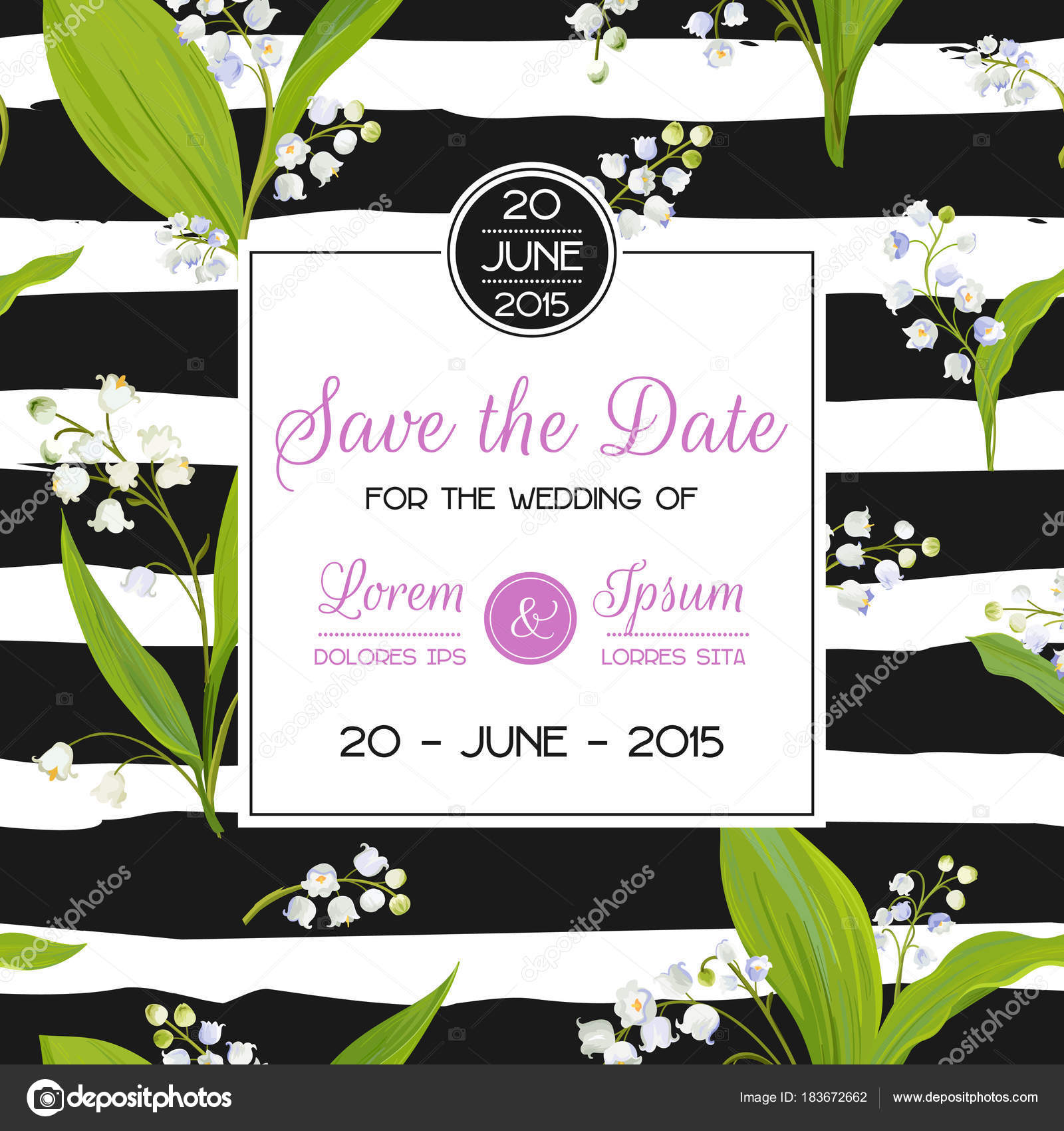 Save the date card with spring lily of the valley flowers wedding save the date card with spring lily of the valley flowers wedding invitation anniversary izmirmasajfo