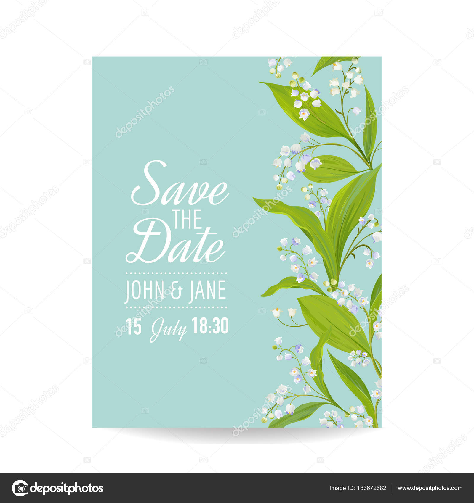floral wedding invitation template with spring lily of the valley