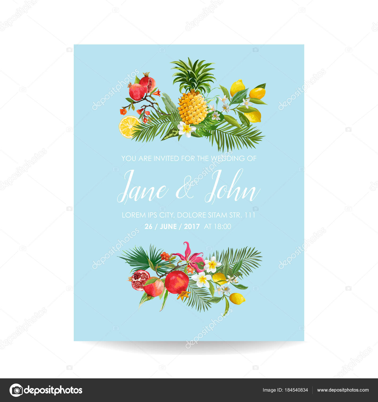 Wedding Invitation With Tropical Fruits And Palm Leaves Greeting