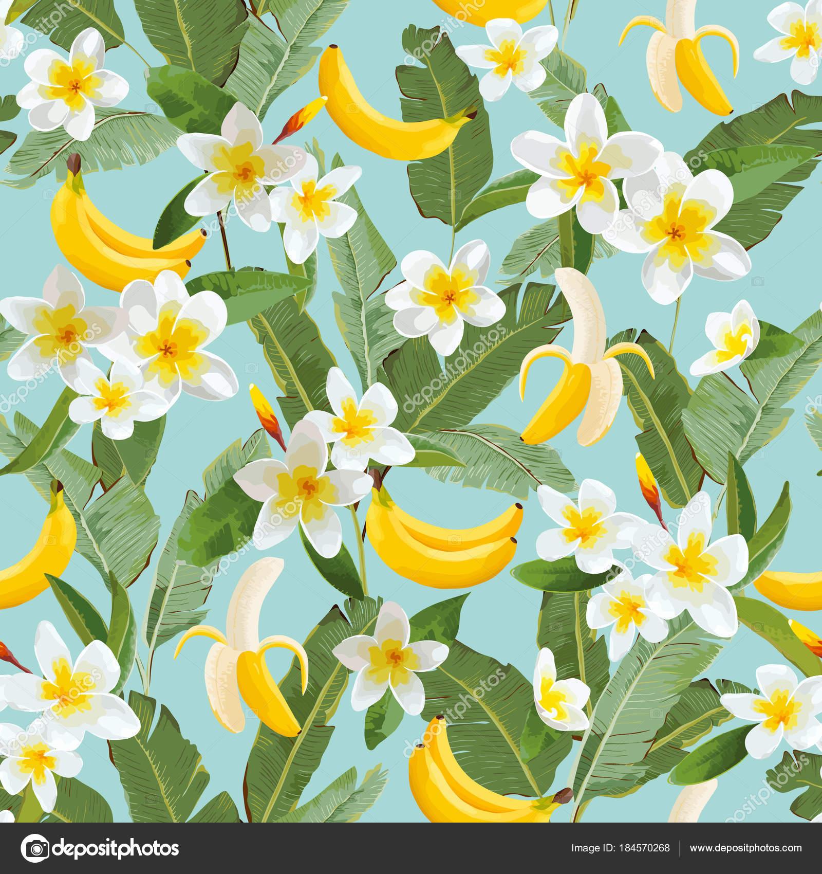 Reticolo senza giunte tropicale con palme e banane fogli for Stock carta da parati
