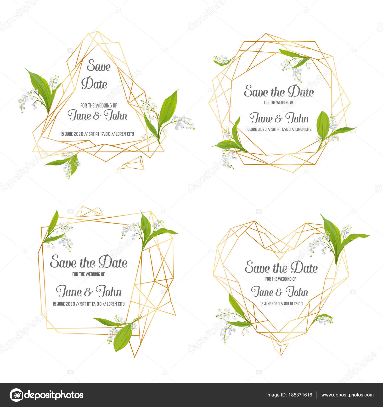 Wedding Invitation Floral Template Set. Save the Date Frames with ...