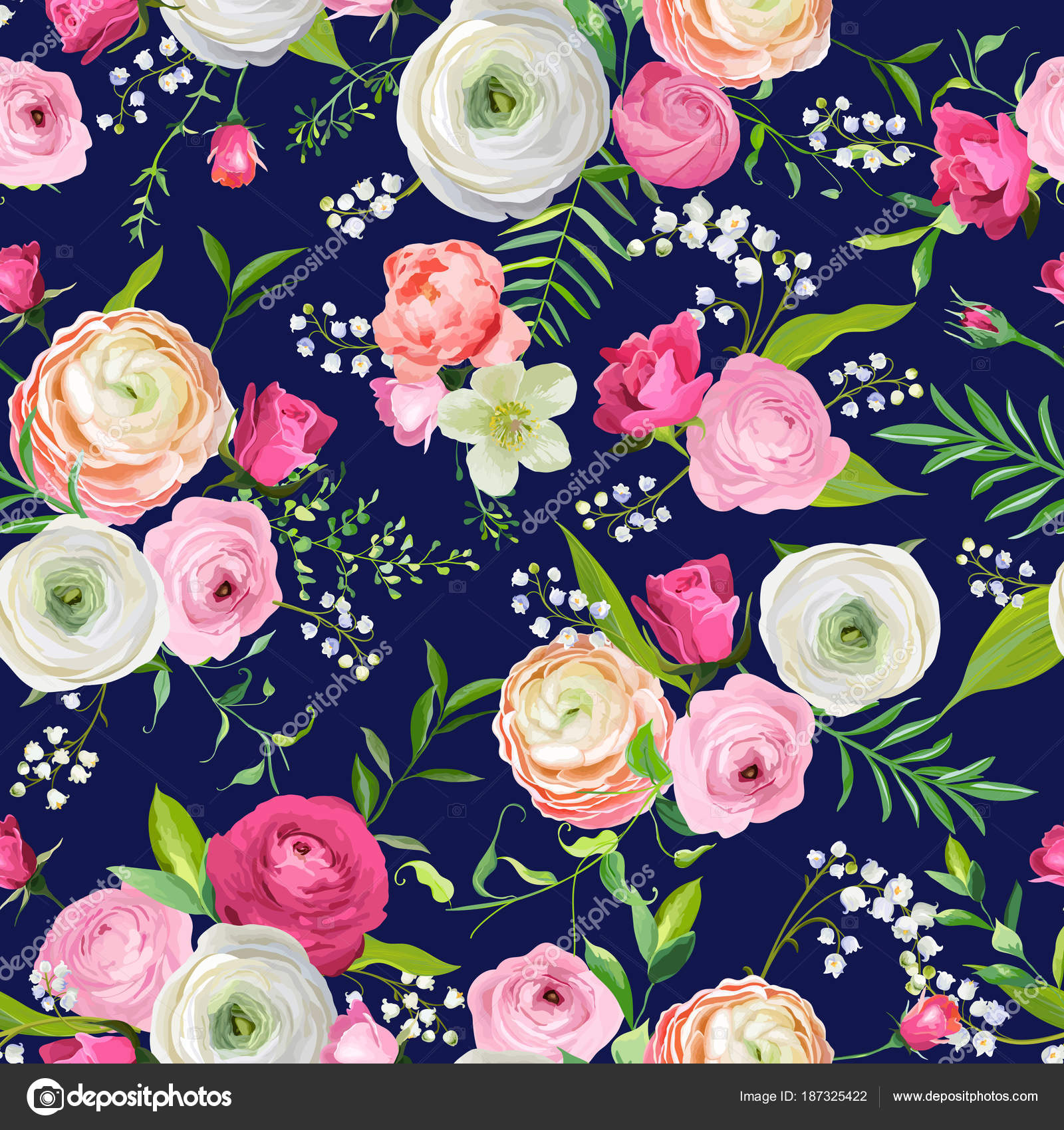 Summer Floral Seamless Pattern With Pink Flowers And Lily Botanical
