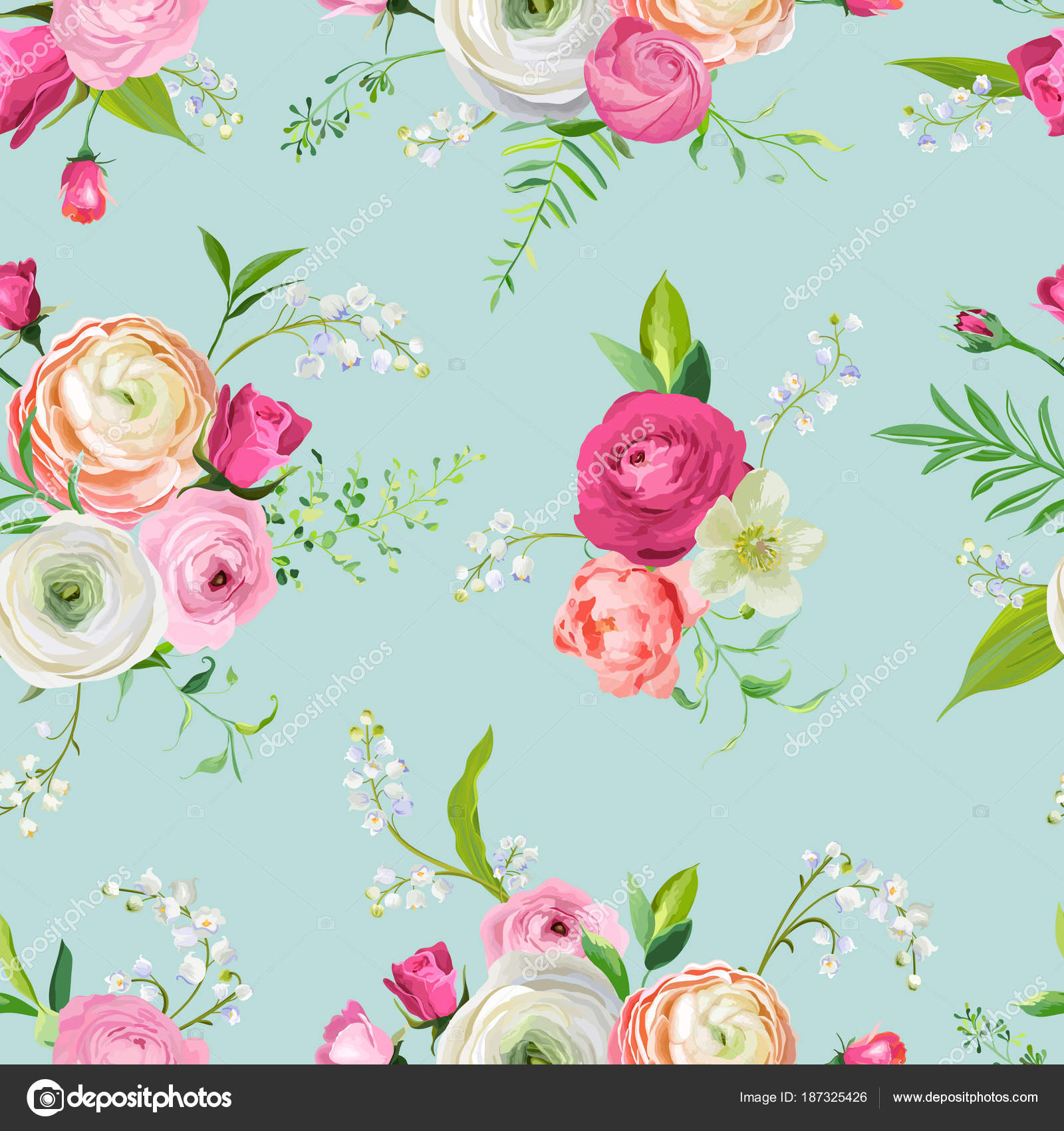 Floral Seamless Pattern With Pink Flowers And Lily Botanical