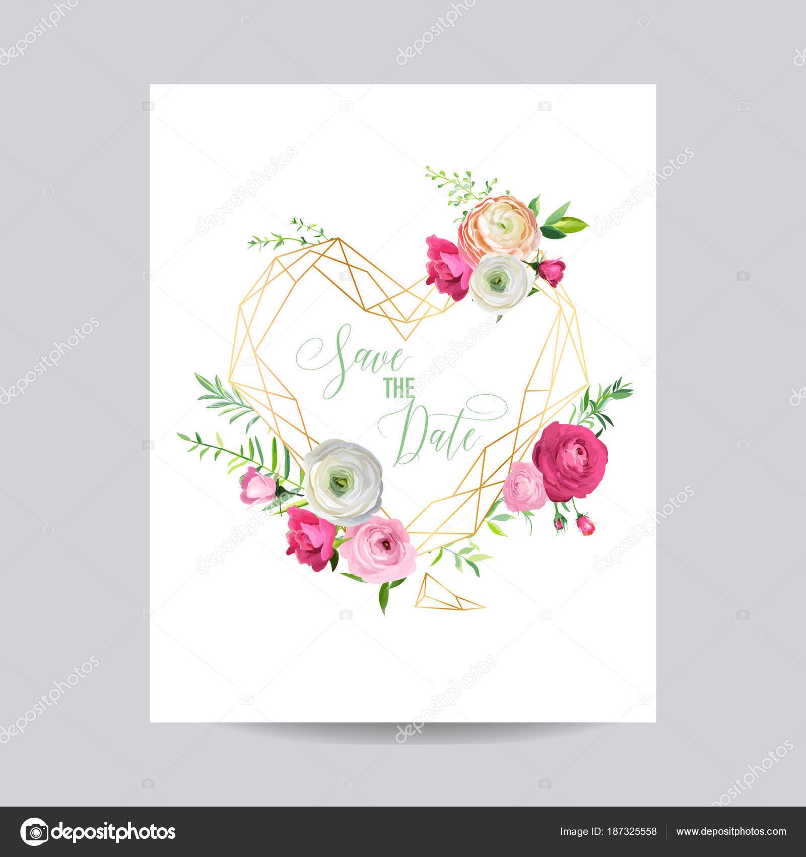 Plantilla Floral de la invitación de boda. Ahorre la fecha corazón ...