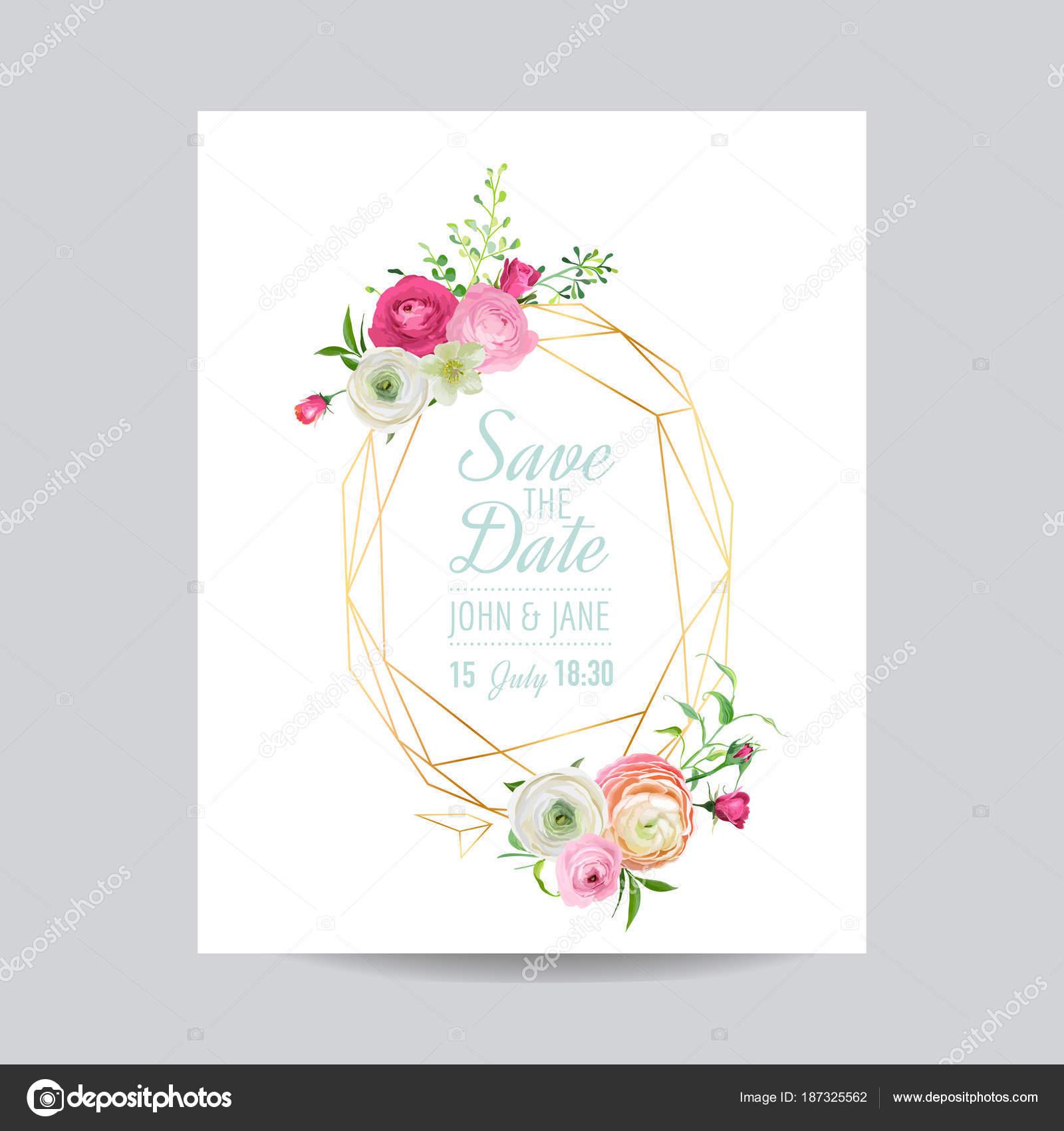 Plantilla Floral de la invitación de boda. Guarde el marco dorado de ...