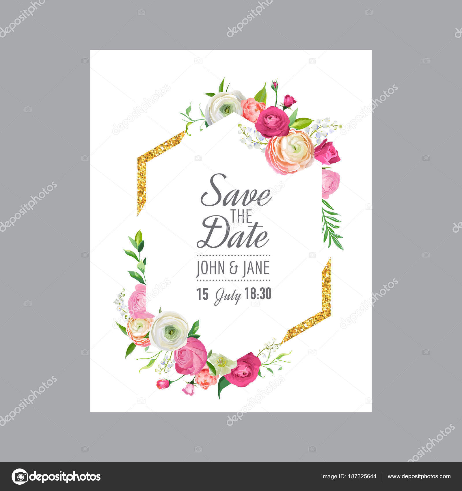 save the date card template with gold glitter frame and pink flowers wedding invitation