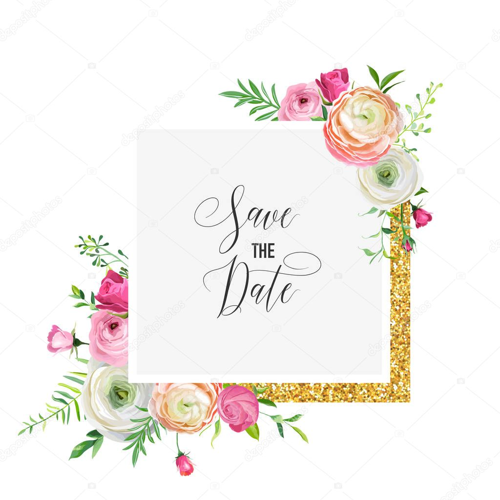 Save The Date Wedding Floral Ornament Wedding Floral: Save The Date Card Template With Golden Glitter Frame And