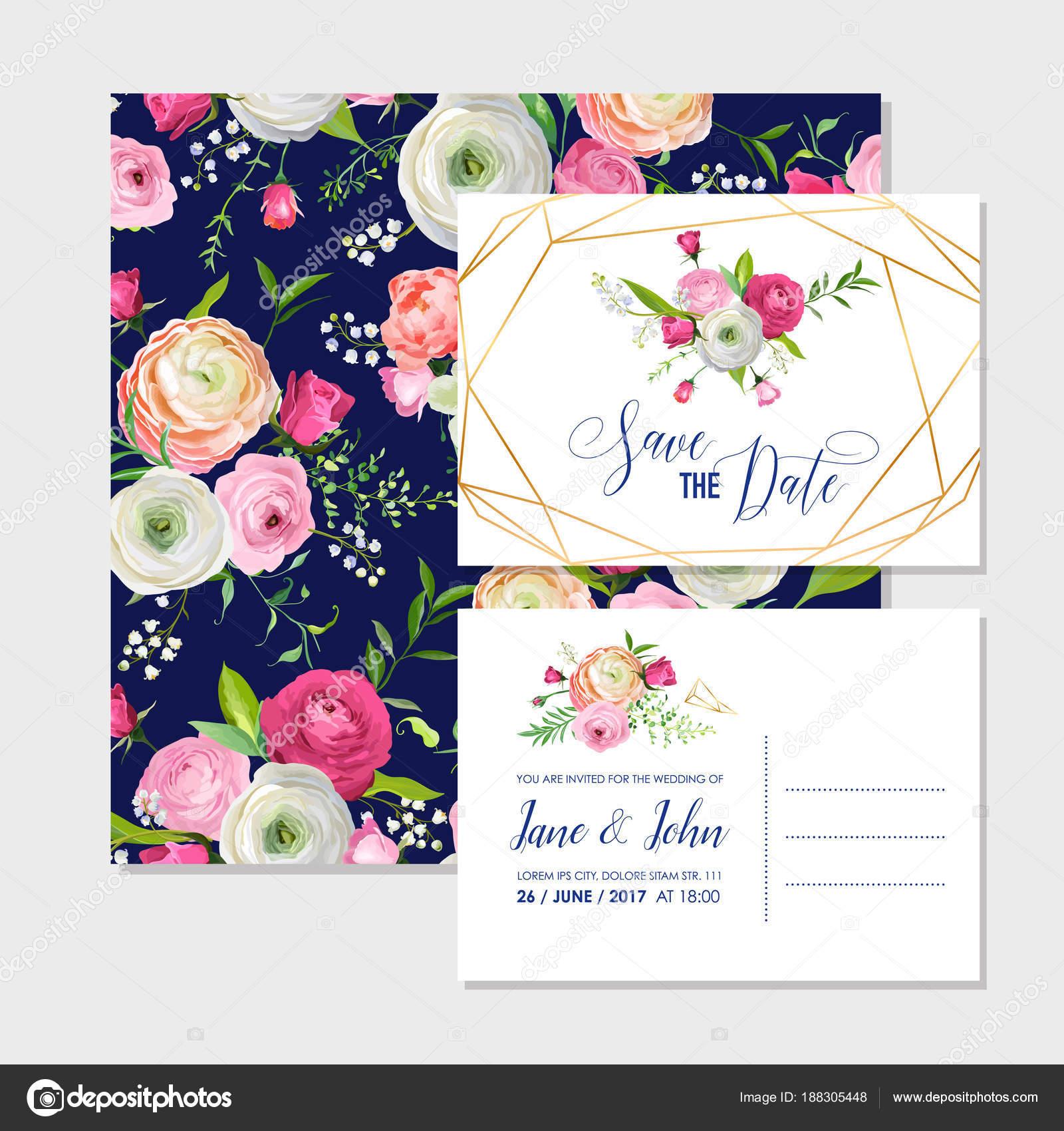 Sparen Sie Die Date Karten Set Mit Blossom Rosa Blumen Und Goldenen