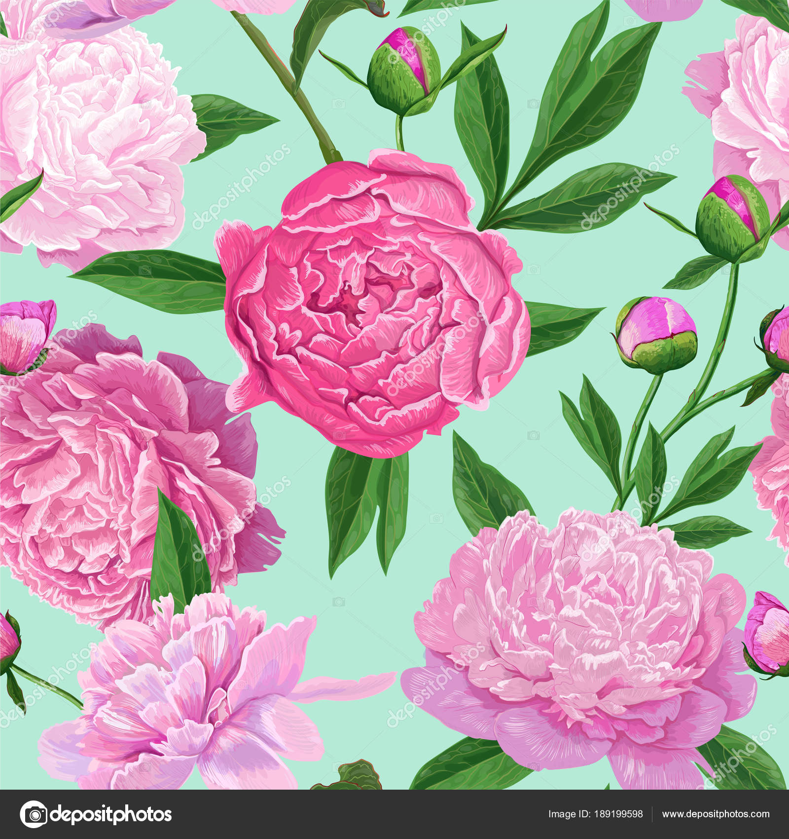 Floral Seamless Pattern with Pink Peony Flowers Spring Blooming
