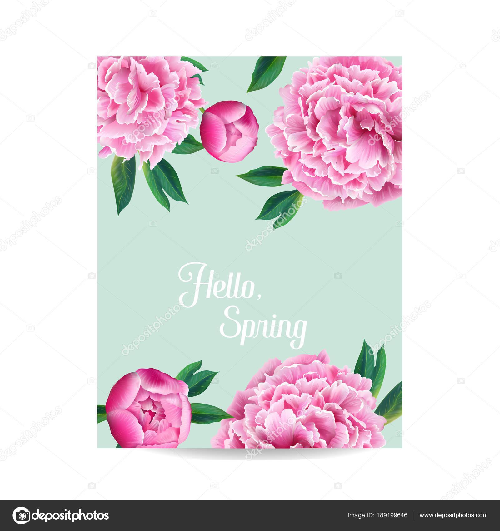Schön Blühender Frühling Und Sommer Floralen Design. Aquarell Rosa Pfingstrose  Blumen Für Einladung, Hochzeit,