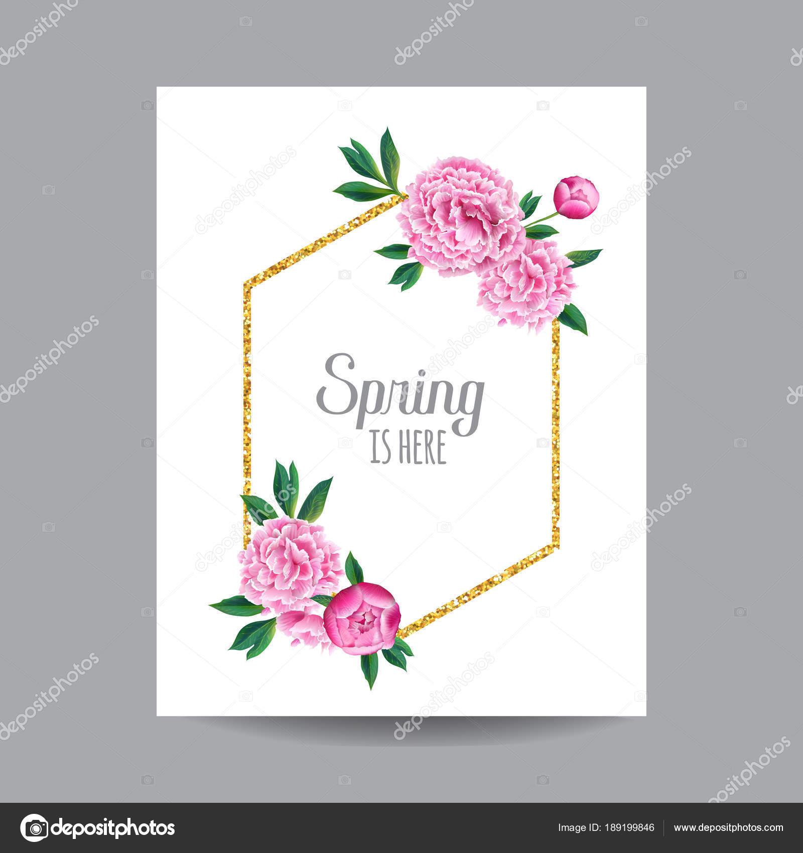 Blühender Frühling Und Sommer Blumenmuster Mit Goldrahmen. Aquarell Rosa  Pfingstrose Blumen Für Einladung, Hochzeit