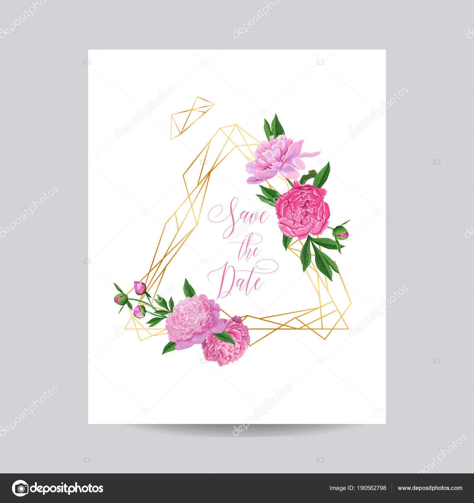 Boda invitación Floral plantilla con peonías rosa. Ahorre la fecha ...