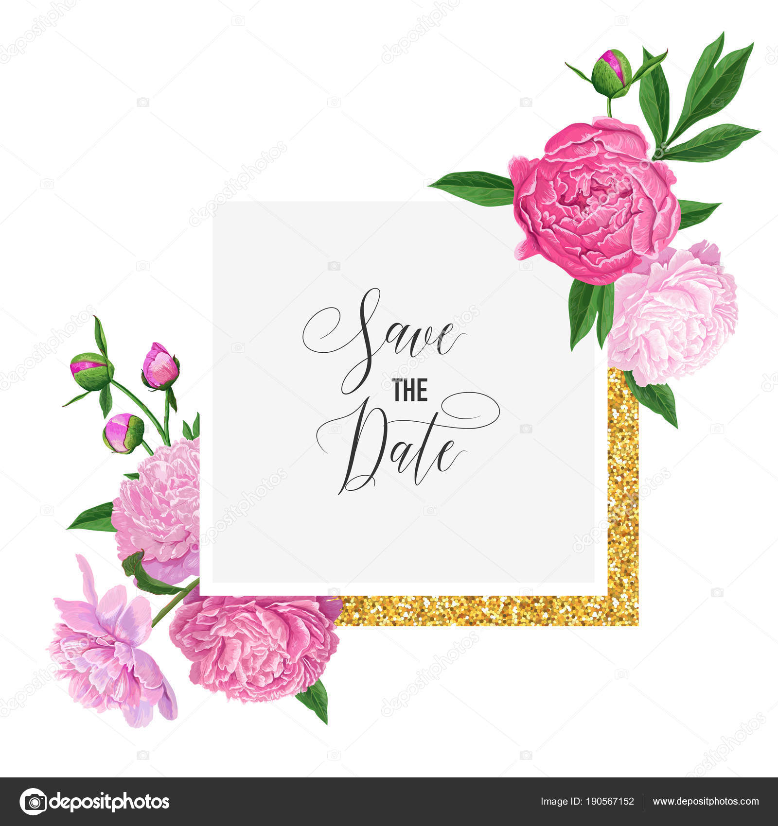 Floral wedding invitation template save the date card with blooming floral wedding invitation template save the date card with blooming pink peony flowers and golden frame romantic botanical design for ceremony decoration junglespirit Image collections