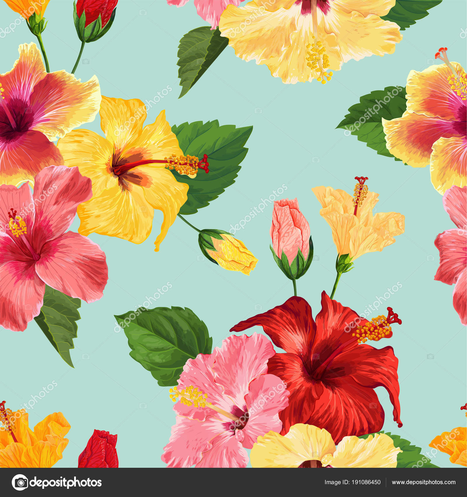 tropical hibiscus flower seamless pattern. floral summer background