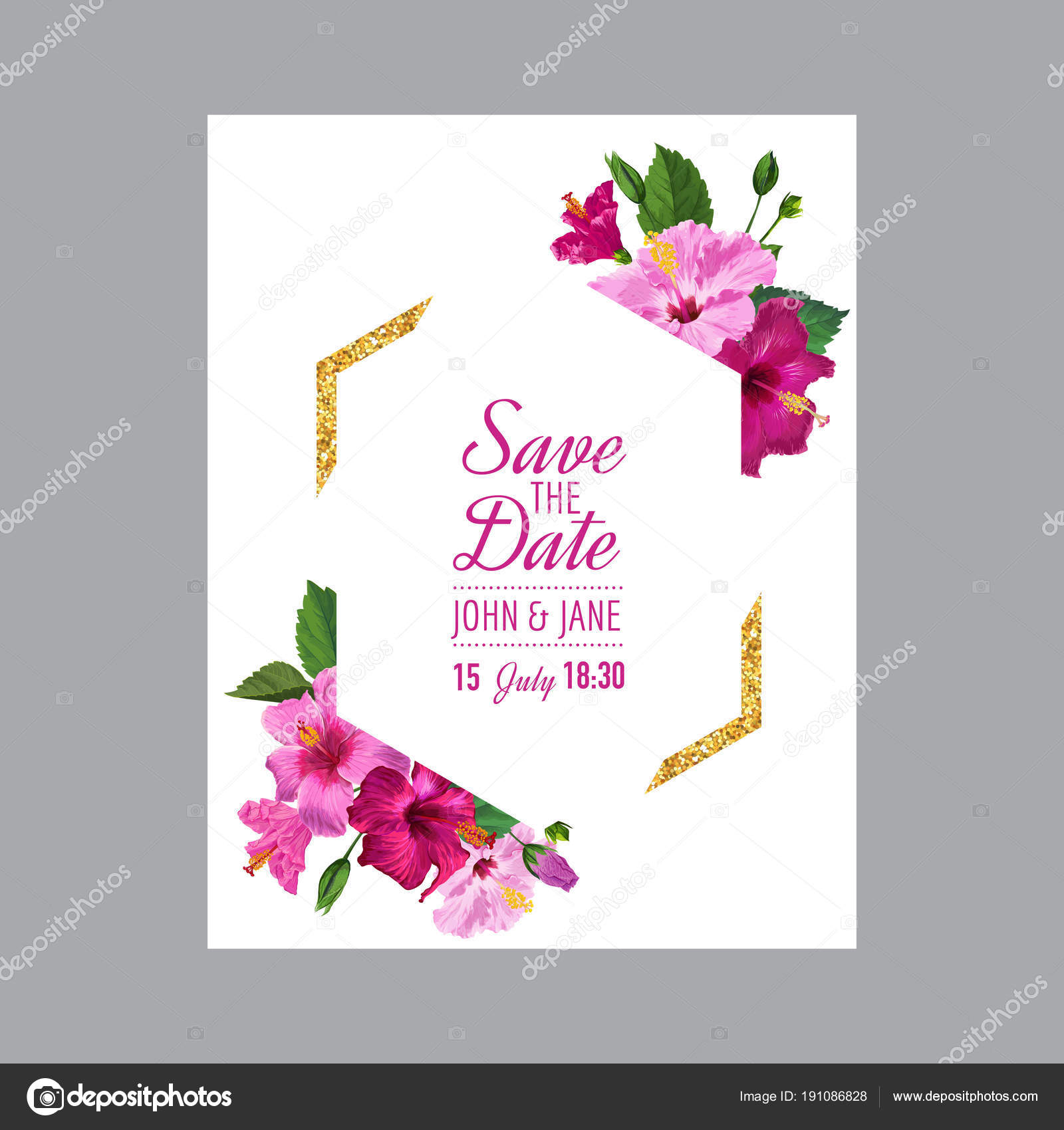 Wedding invitation template with blooming hibiscus flowers and wedding invitation template with blooming hibiscus flowers and golden frame save the date floral card for greetings anniversary birthday m4hsunfo