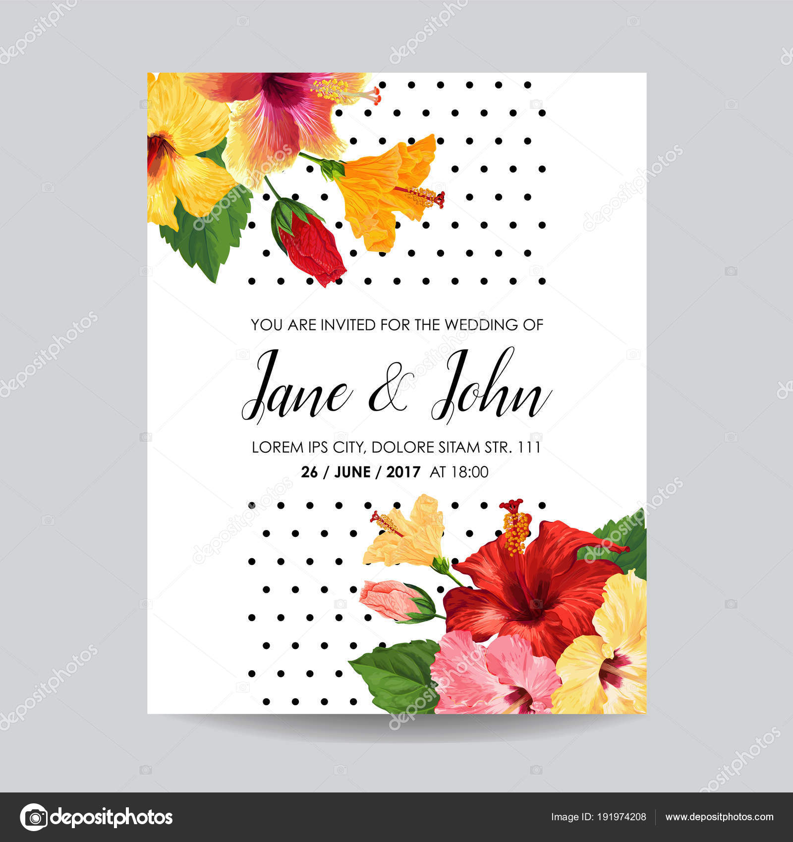 Wedding Invitation Template with Red Hibiscus Flowers. Save the Date ...