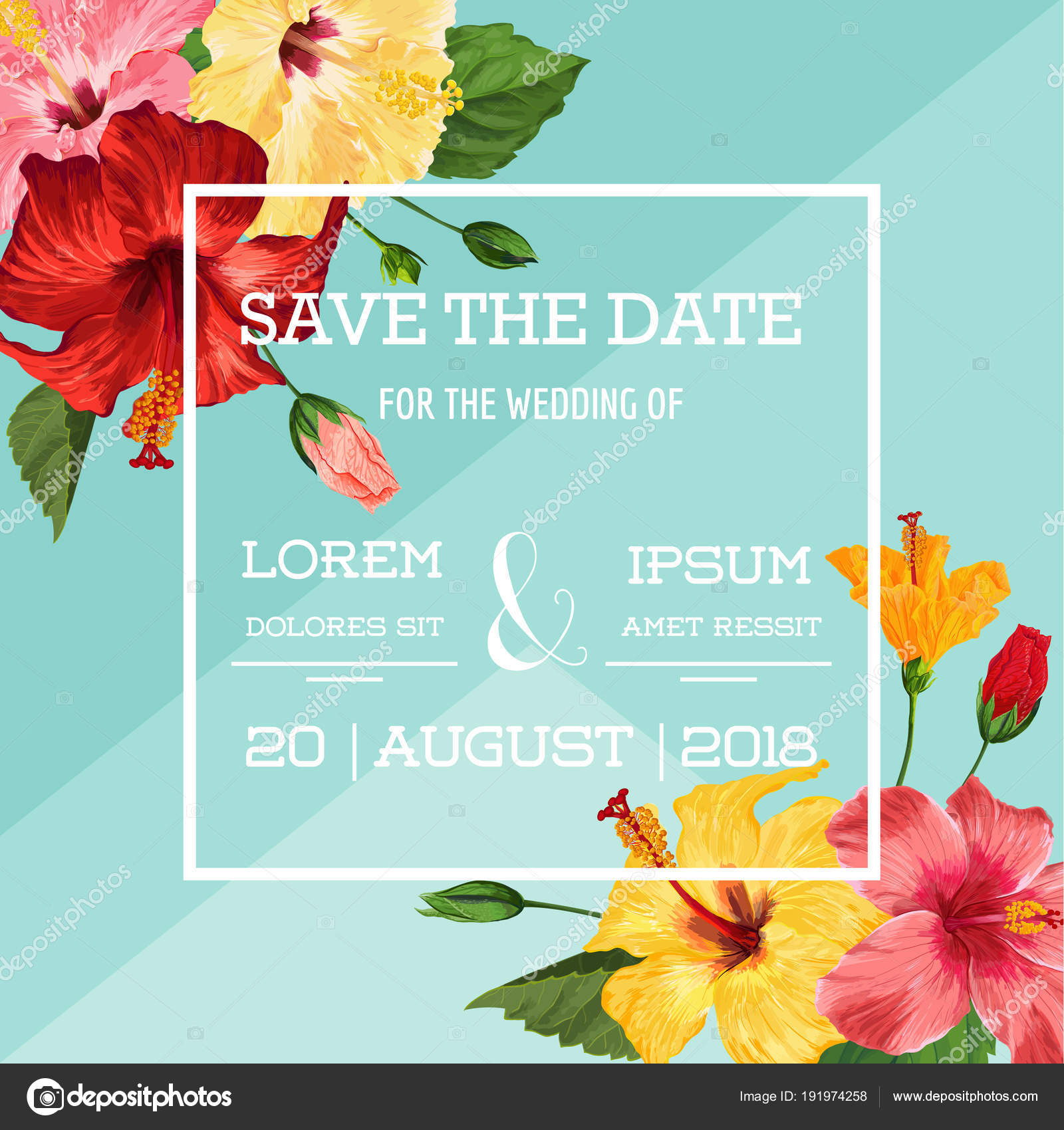 Wedding invitation template with red hibiscus flowers save the date wedding invitation template with red hibiscus flowers save the date floral card for greetings izmirmasajfo