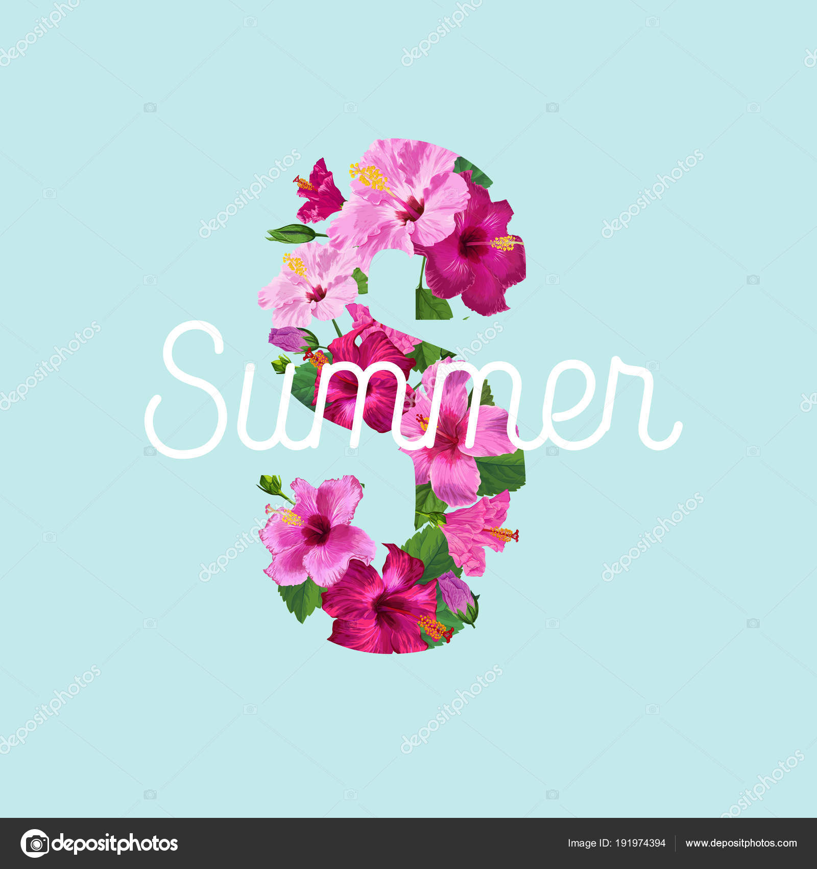 Hello Summer Poster Floral Design With Purple Hibiscus Flowers For