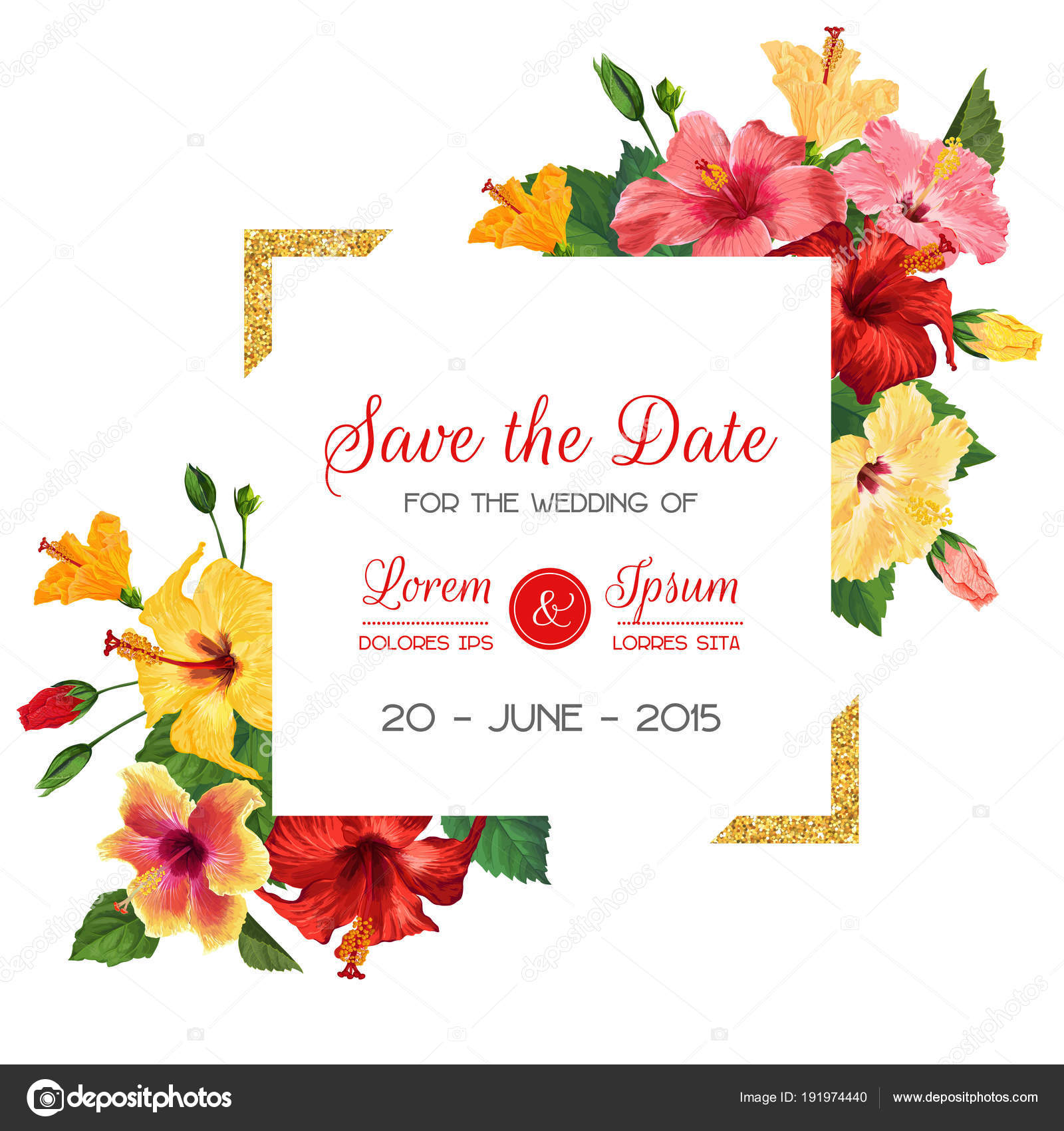 Wedding Invitation Template with Red Hibiscus Flowers and Golden ...