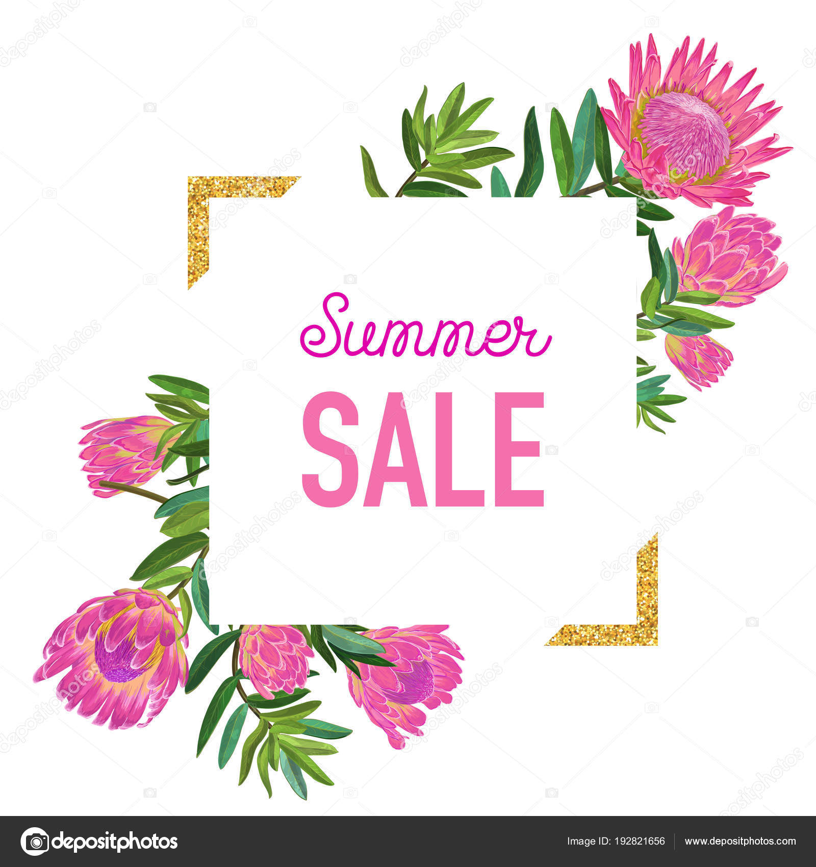 Summer sale floral banner with golden frame seasonal discount summer sale floral banner with golden frame seasonal discount advertising with pink protea flowers izmirmasajfo