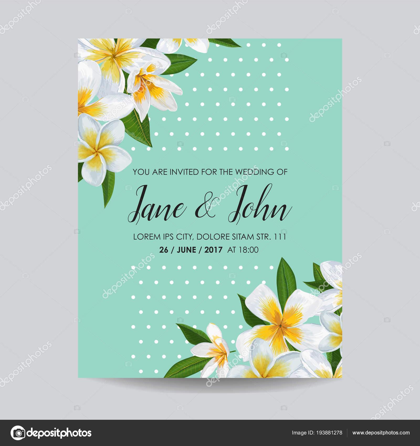 Hochzeit Einladung Vorlage Mit Plumeria Blüten. Tropischen Blumen Speichern  Das Datum Card Exotische Blume Romantische Design Zur Begrüßung, Postkarte,  ...