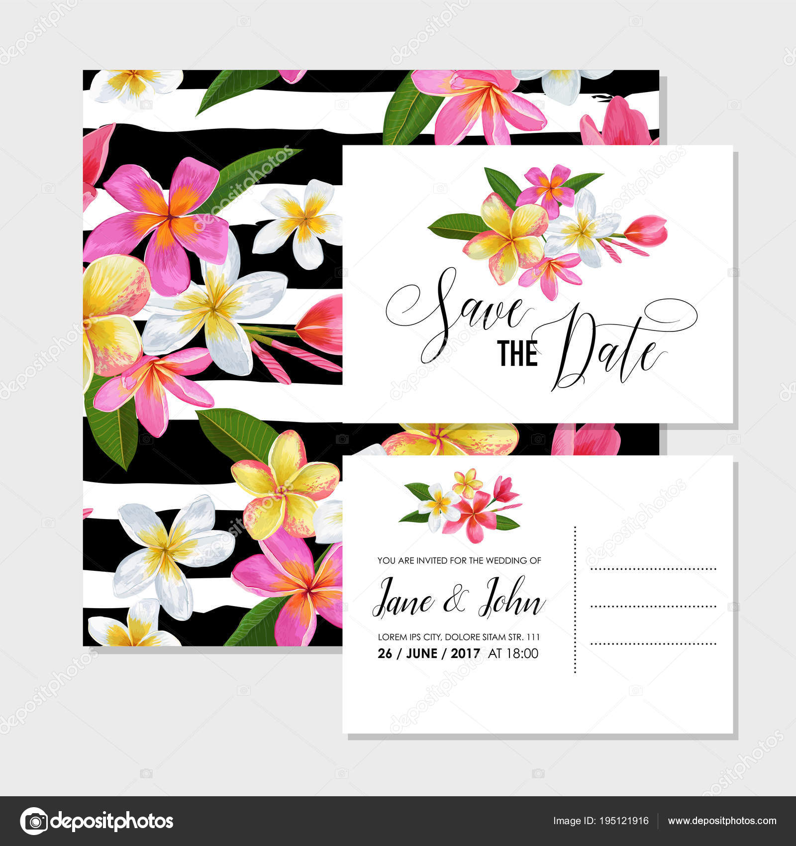 Wedding Invitation Template with Plumeria Flowers — Stock Vector ...
