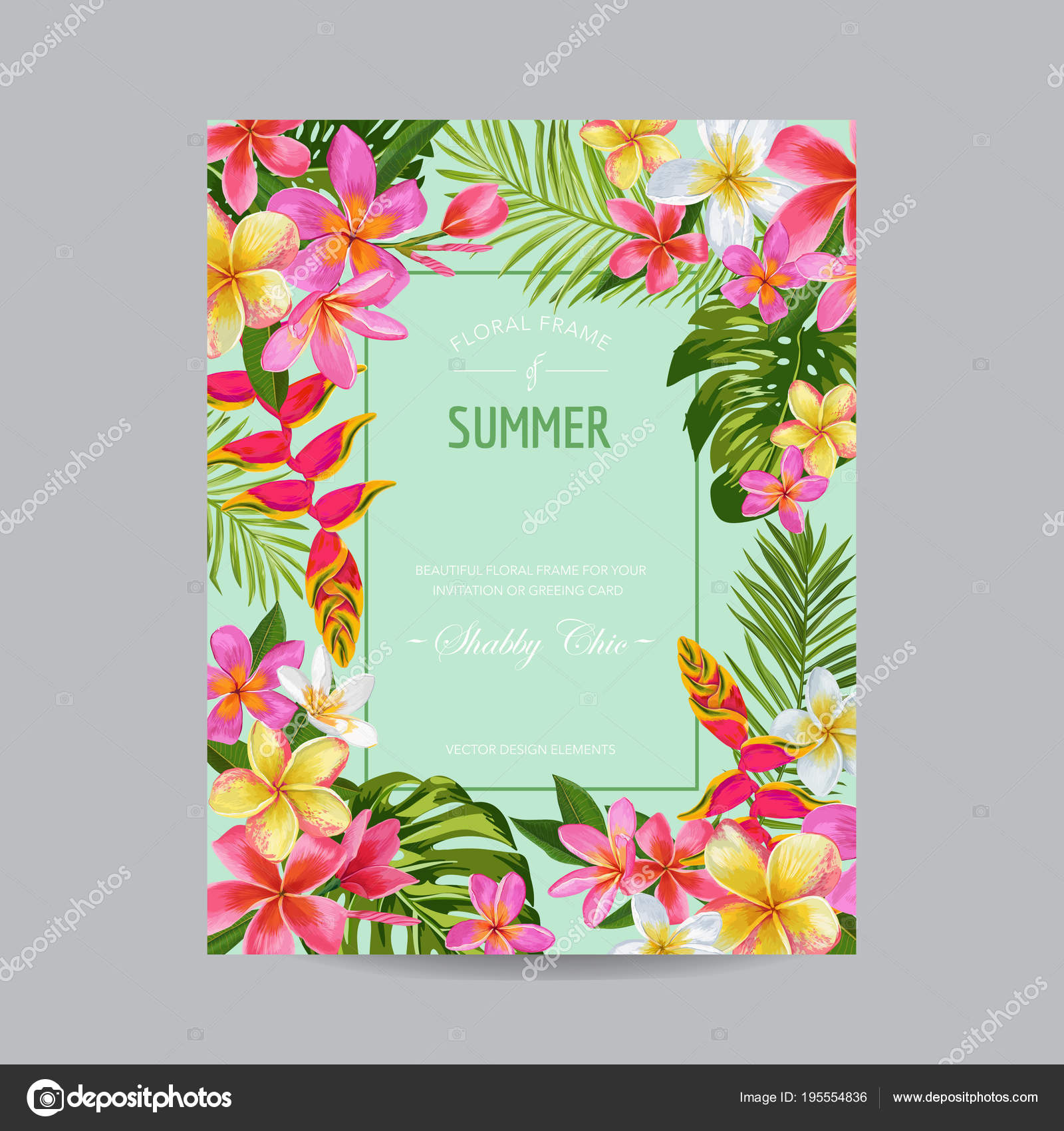 blooming summer floral frame poster banner tropical flowers card