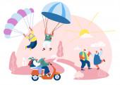 Starší muži a ženy Volný čas. Starší lidé Aktivní životní styl. Happy Aged Pensioners doing Extreme Sport, skydiving