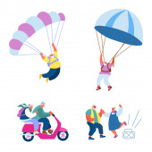 Starší lidé Aktivní životní styl. Happy Aged Pensioner postavy dělat extrémní sport, seskok s padákem