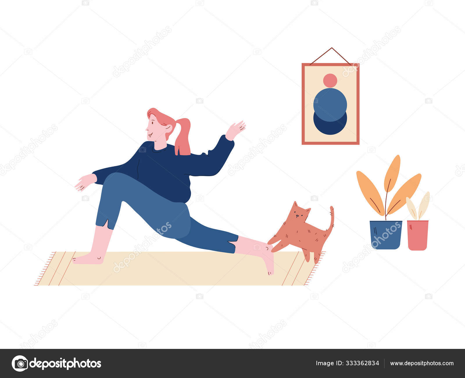 Young Woman Sitting On Floor With Cat In Room Interior Doing Stretching Exercises For Healthy Body