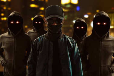 Group of hackers on the street