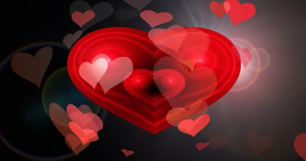 Festive flight of hearts in love in the sky