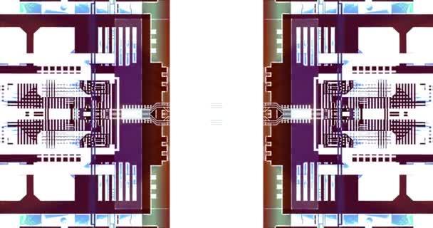Technické výkresy vytvářejí abstraktní pozadí pohybu na obrazovce