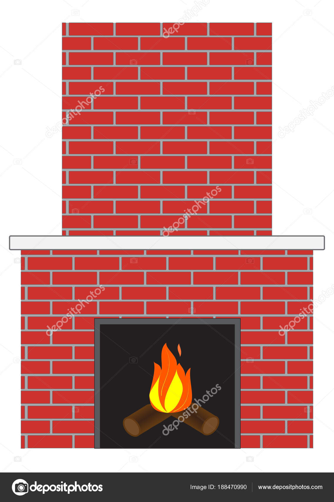 Brick Fireplace With Fire Stock Vector C Rolaks 188470990