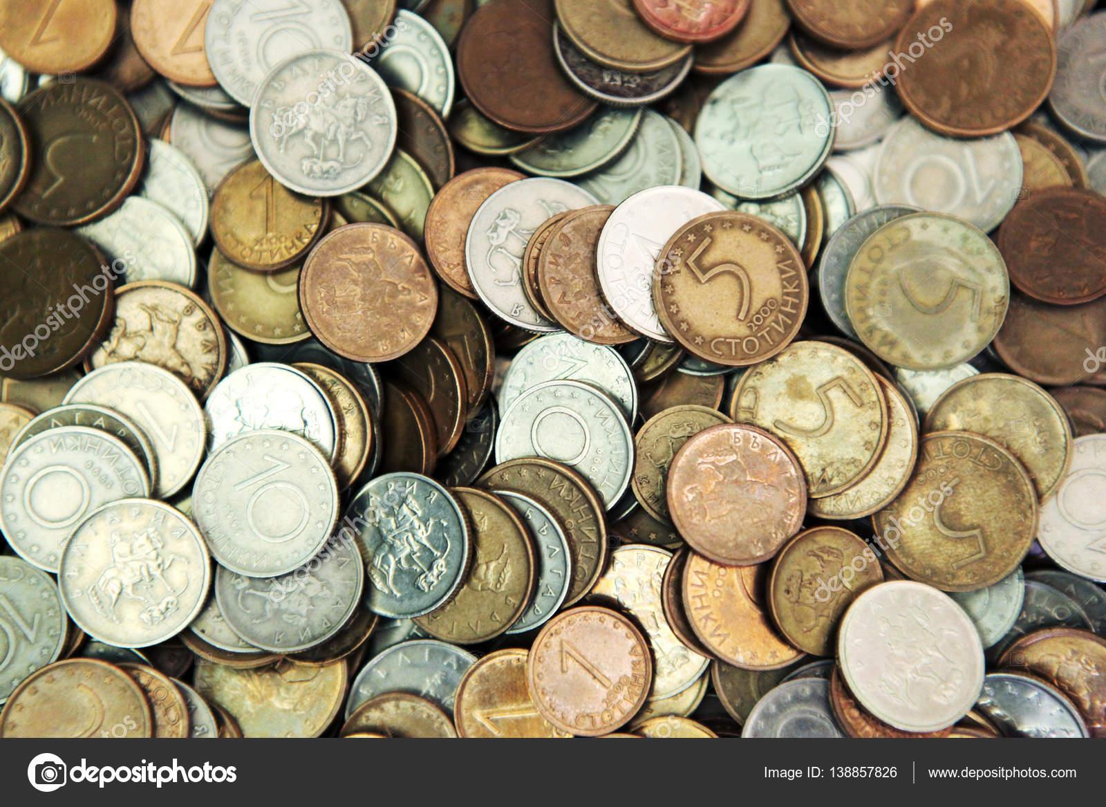 Riesiger Haufen Der Bulgarische Münzen Stockfoto Nenovbrothers