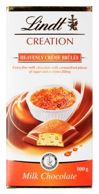 Top view of Lindt Creation Heavenly creme brulee Swiss milk chocolate bar isolated on white