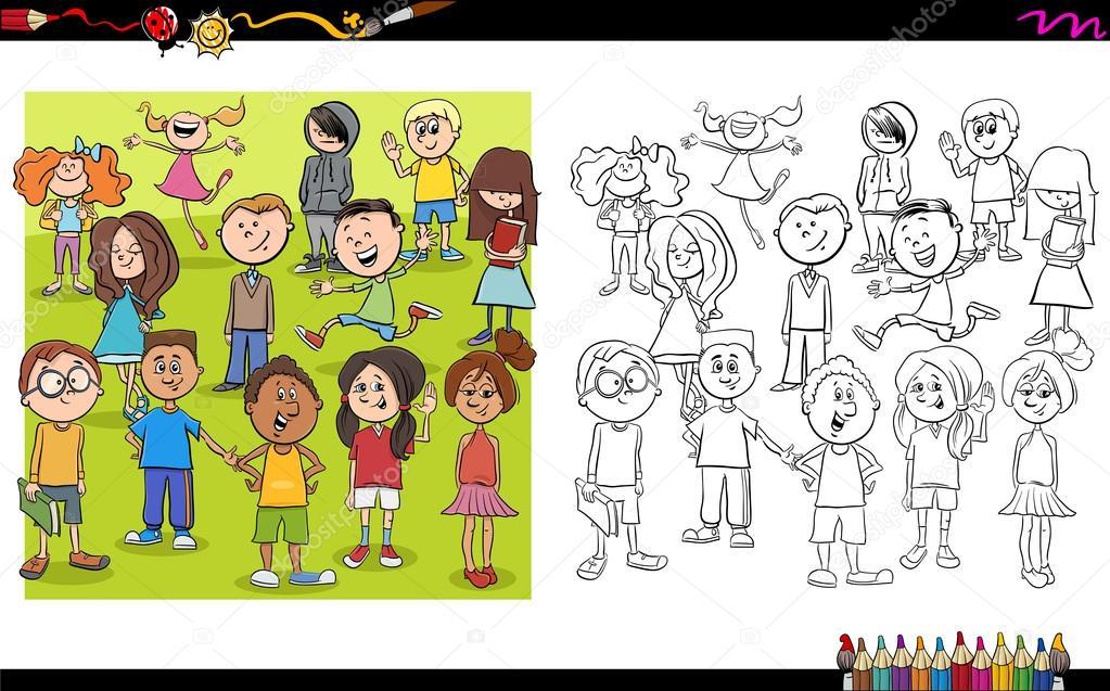 personajes infantiles para colorear libro — Vector de stock ...