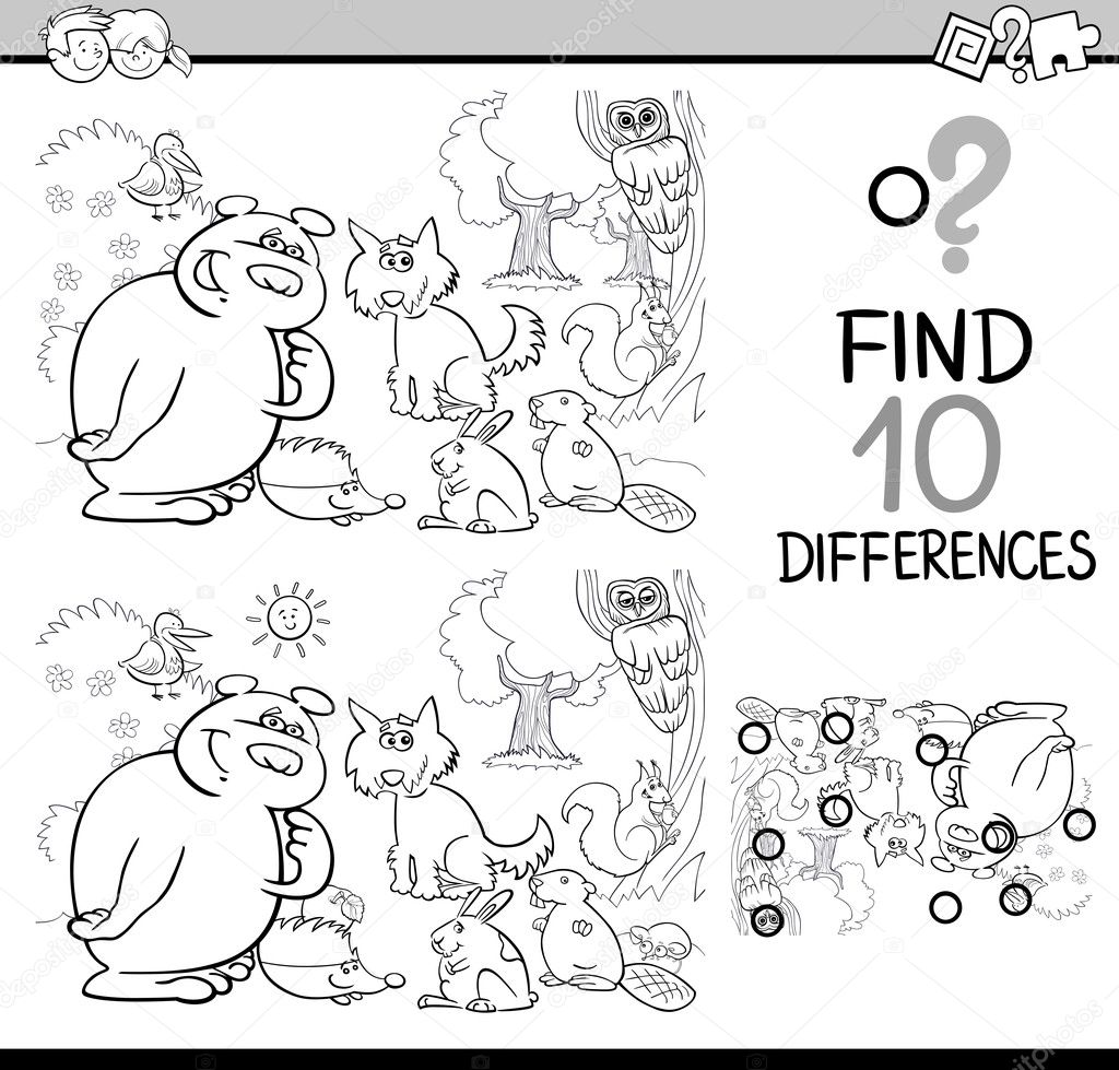 Página para colorear juego de diferencias — Vector de stock ...