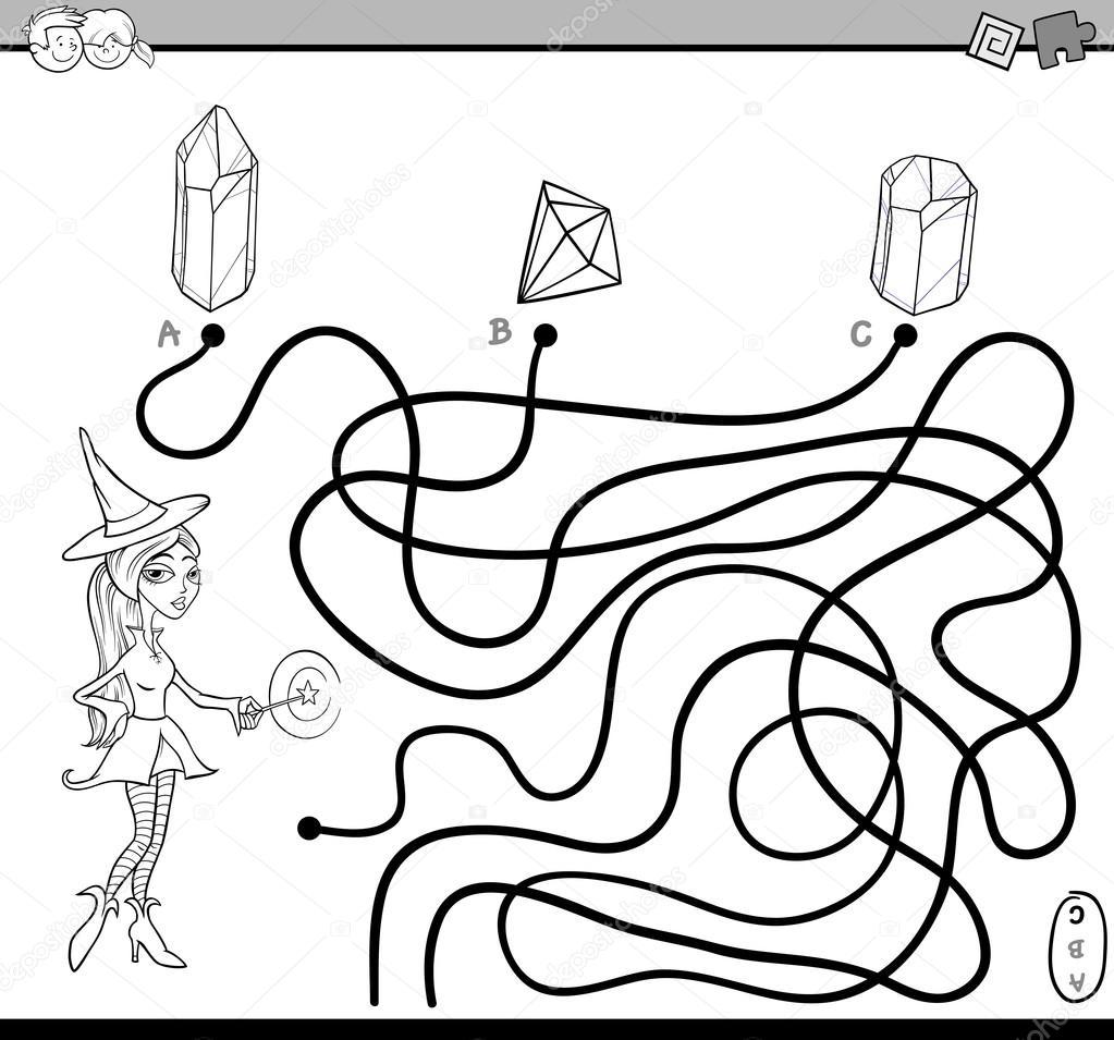 Yol Labirent Görev Boyama Sayfası Stok Vektör Izakowski 125292464