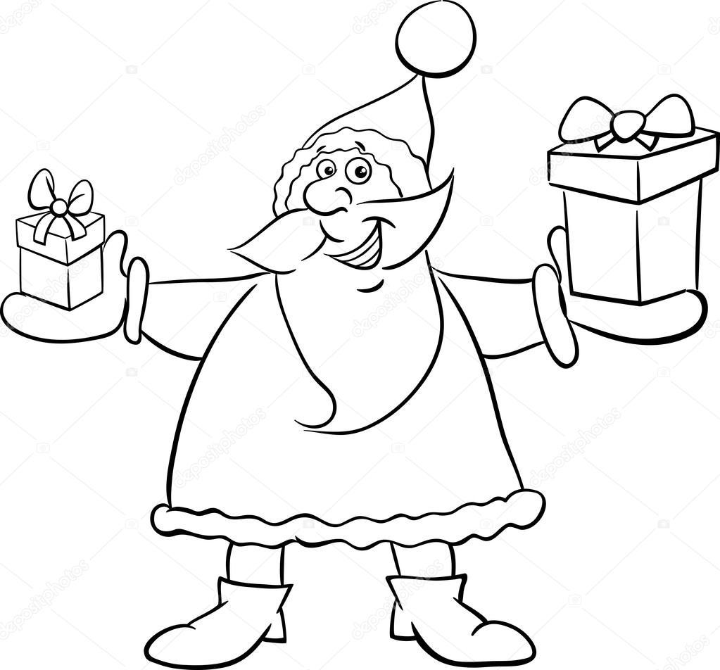 Noel Baba Ve Boyama Kitabı Hediye Stok Vektör Izakowski 126052482