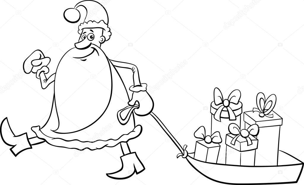 Noel Baba Boyama Sayfası Stok Vektör Izakowski 126052588
