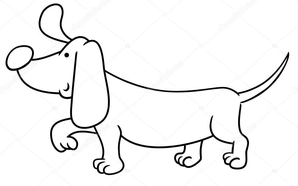 Página para colorear de perro salchicha — Archivo Imágenes ...