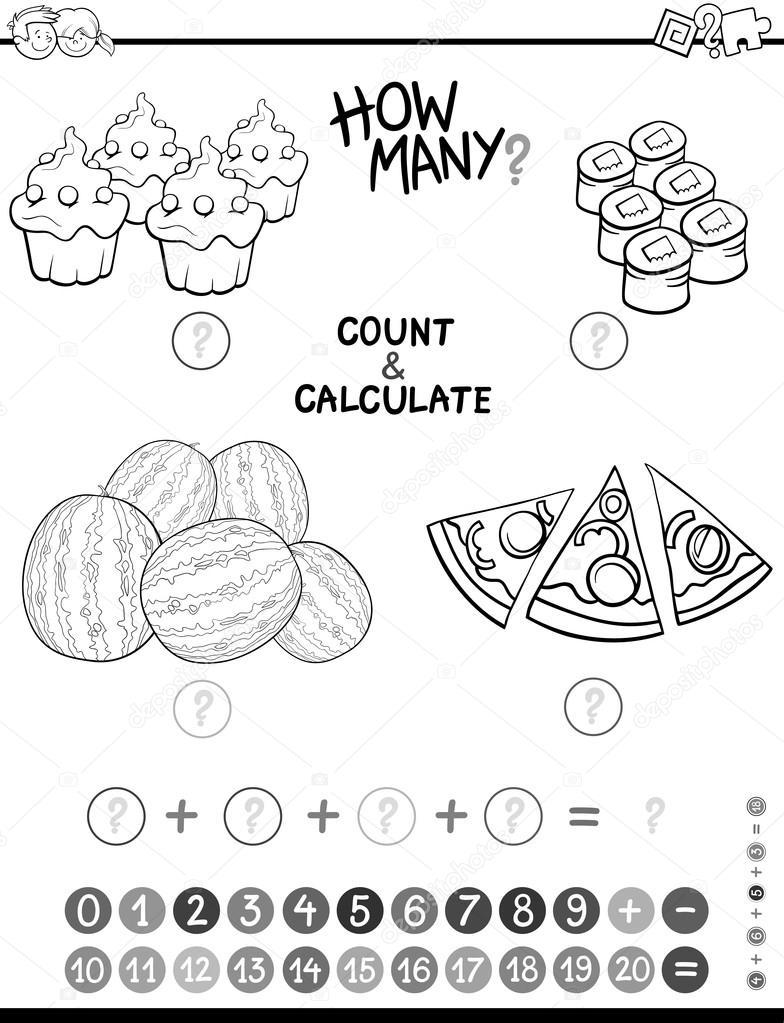 Matematik Avtivity Boyama Sayfası Stok Vektör Izakowski 127412862