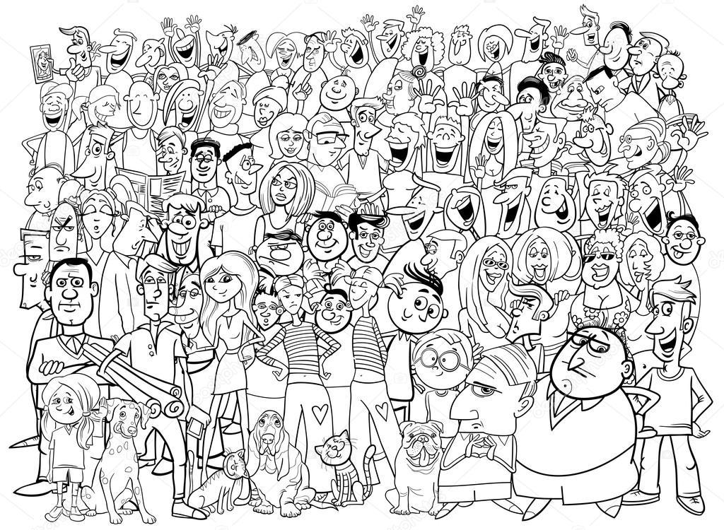 Dibujos: grupo de personas blanco y negro | grupo grande de gente ...