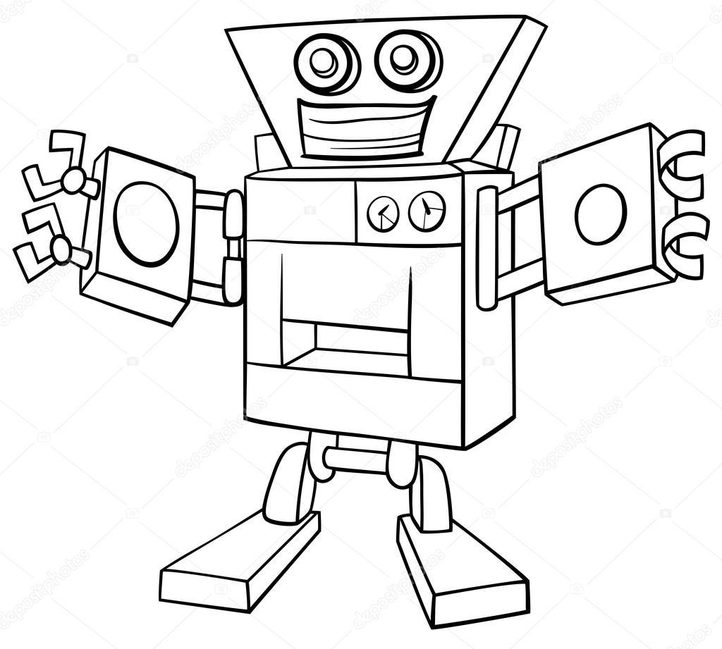 çizgi Film Robot Boyama Sayfası Stok Vektör Izakowski 127675188