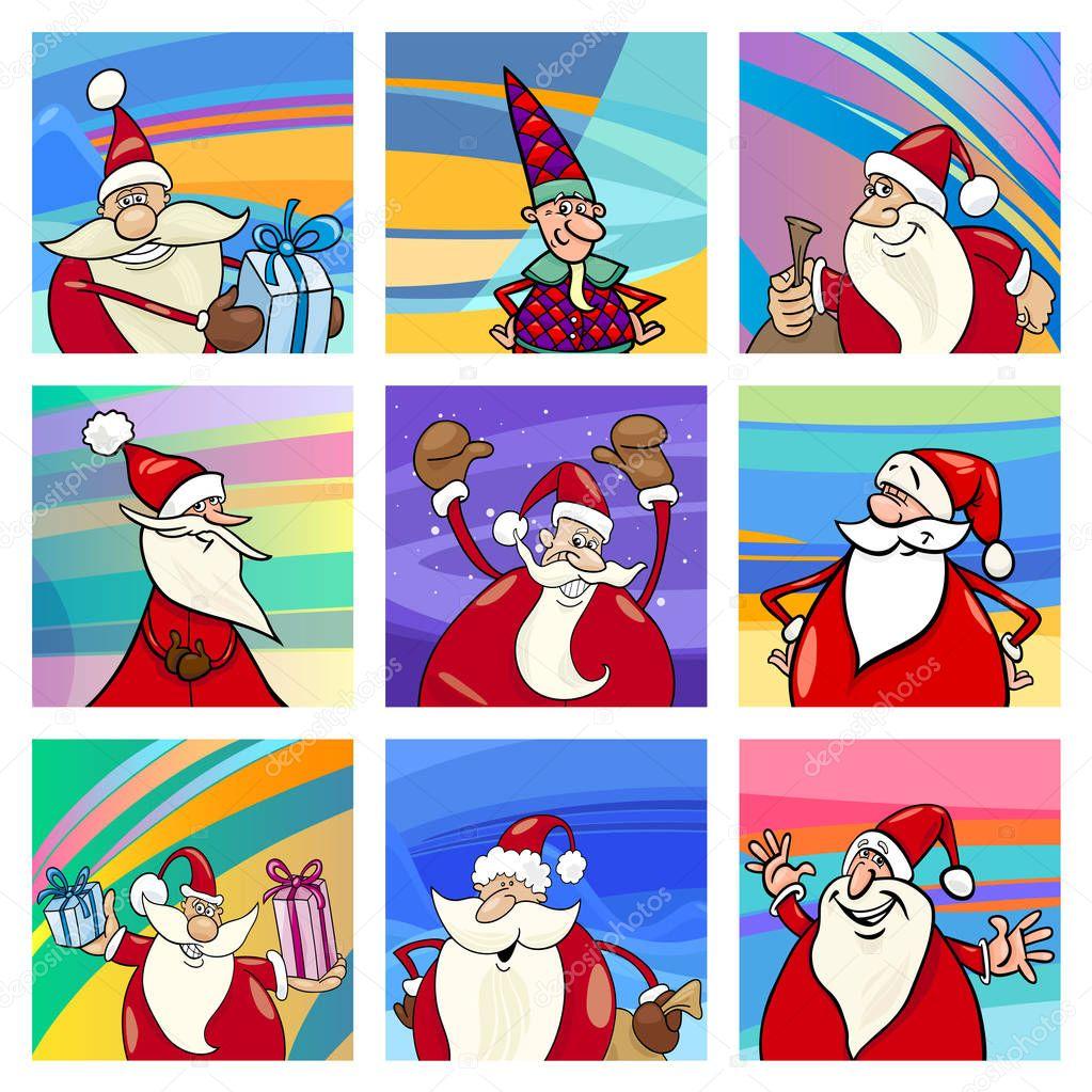 Desenho Animado Jogo De Cartas Do Papai Noel